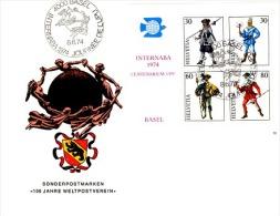 TEL-L23 - SUISSE FDC Avec Bloc N° 10 INTERNABA 1974 Avec Messgers Postaux - Poste