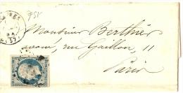 LBL23-  LOUIS NAPOLEON 25c SUR LAC ESTAIRES / PARIS 19/4/1854 - BELLES MARGES - 1852 Louis-Napoléon