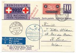 SUISSE - Entier 1937 Avec Cachet FLUGMEETING - SONDERN POSTFLUG ZÜRICH-SION - Poste Aérienne