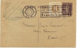 LBL23-  TYPE SEMEUSE CAMEE 40c VIOLET UTILISEE AU DEPART DE LIEGE AVEC TPM BELGE 8/1/1927 THEME ANTITUBERCULEUX - Postal Stamped Stationery