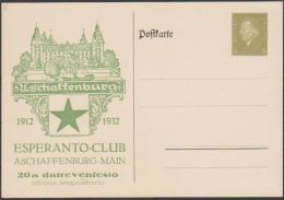 Allemagne 1932. Entier Postal TSC. Esperanto-Club Aschaffenburg. Château D'Aschaffenburg Et Voilier, étoile Espérantiste - Esperanto