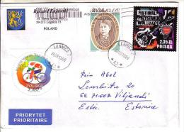 GOOD POLAND Postal Cover To ESTONIA 2013 - Good Stamped: Konopnicka ; Woodstock ; Bicycle - 1944-.... Republic