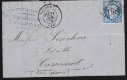 France - Lettre N° 60 Obl. - 1874 - G.C. 1988 / Lavardac / Casseneuil - 1849-1876: Période Classique