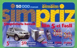 Azerbaijan GSM Prepaid - Azercell SIMSIM 50000 Manat /like UNC / Old Card Cars - Azerbaïjan