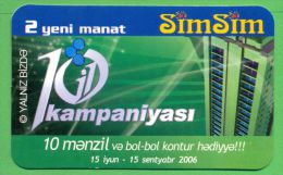 Azerbaijan GSM Prepaid - Azercell SIMSIM 2 10 20 Manat /like UNC / Old Card - Azerbaïjan