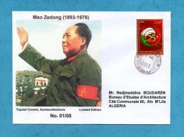 Algeria China, Circulated Cover, Mao Tse-Tung, Mao Tse Tung, 55th Anniv. Diplomatic Relations Algerie Chine 2013 - Mao Tse-Tung