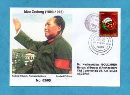 Algeria China, Circulated Cover + Topical Cancel, Mao Tse Tung, 55th Anniv. Diplomatic Relations Algerie Chine 2013 - Mao Tse-Tung