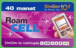 Azerbaijan GSM Prepaid - Azercell SIMSIM 40 Manat /like UNC / Old Card