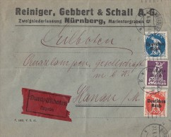 DR Brief Eilbote Mif Minr.122,125,128 Nürnberg 27.6.21 - Briefe U. Dokumente