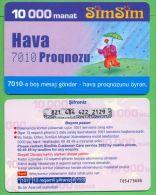Azerbaijan GSM Prepaid - Azercell SIMSIM 10000 Manat /like UNC / Old Card