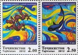 Tajikistan 2012 Lunar Calendar 2v MNH - Tajikistan