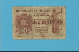 CÉDULA De 10 CENTAVOS - SÉRIE A15 - CASA DA MOEDA - PORTUGAL - EMERGENCY PAPER MONEY - NOTGELD - Portugal