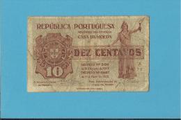 CÉDULA De 10 CENTAVOS - SÉRIE A26 - CASA DA MOEDA - PORTUGAL - EMERGENCY PAPER MONEY - NOTGELD - Portugal
