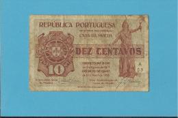 CÉDULA De 10 CENTAVOS - SÉRIE A33 - CASA DA MOEDA - PORTUGAL - EMERGENCY PAPER MONEY - NOTGELD - Portugal