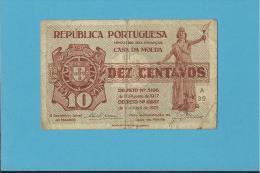 CÉDULA De 10 CENTAVOS - SÉRIE A39 - CASA DA MOEDA - PORTUGAL - EMERGENCY PAPER MONEY - NOTGELD - Portugal