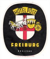 Allemagne - Freiburg Breisgau - Hotel Post (étiquette D´hotel) - Hotel Labels