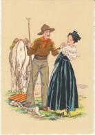 Provence Maudy(?) Artist Signed, Regional Costume Dress, Romance C1930s/50s Vintage Postcard - Provence-Alpes-Côte D'Azur