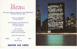United Airlines Menu, United Nations Building New York, C1950s Vintage Postcard - Andere