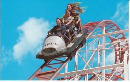Roller Coaster Ride 'Jet Star', Boardwalk Santa Cruz California Amusement Park, C1970s Vintage Postcard - Spectacle