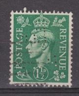 Engeland United Kingdom, Great Britain, Angleterre, Bretagne, King George VI, SG 505, Y&T Used PERFIN D? - 1902-1951 (Koningen)