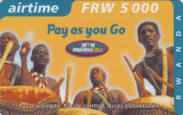TA] 1 Télécarte Utilisée Used Phonecard Rwanda Tambour Drum 5.000 FRW Rigide Rigid - Rwanda