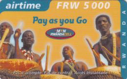 TA] 1 Télécarte Utilisée Used Phonecard Rwanda Tambour Drum 5.000 FRW Rigide Rigid