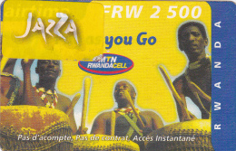 TA] RARE:  Télécarte Utilisée Used Phonecards Rwanda Tambour Drum Avec Vignette AUTOCOLLANTE JAZZA SELF ADHESIVE Label - Rwanda