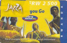 TA] RARE:  Télécarte Utilisée Used Phonecards Rwanda Tambour Drum Avec Vignette AUTOCOLLANTE JAZZA SELF ADHESIVE Label