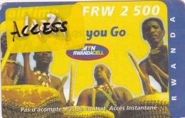 TA] RARE:  Télécarte Utilisée Used Phonecards Rwanda Tambour Drum Vignette JAZZA Label Surchargée ACCESS Overprinted