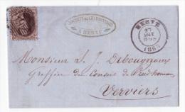 L. Affr. N°14 P66 HERVE/1863 Pour Verviers - 1863-1864 Medaillons (13/16)