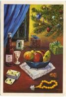 NATALE  Illustrata Firmata Natura Morta Con Cesto Di Frutta Bottiglia Carte Da Gioco Albero Di Natale Doni - Kerstmis