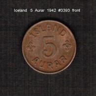 ICELAND    5  AURAR   1942  (KM # 7.2) - Iceland