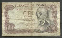 ESPAÑA - BILLETE DE 100PTS. MADRID 17 DE NOVIEMBRE DEL 1970 REGULAR ESTADO CON ALGUS ROTURAS (A) - [ 3] 1936-1975 : Régimen De Franco