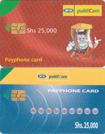 Y] 2 Télécartes Phonecards  Ouganda Uganda Divers Varied Forte Faciale High Face Value 25.000 Ush - Uganda