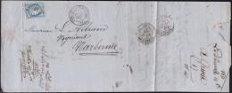 France - Lettre N° 60 Obl. - 1871 - G.C. 2986 / Port De La Nouvelle / Narbonne - 1849-1876: Classic Period