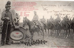 REGIMENT DU 10 EME CHASSEURS CARTE PRECURSEUR EN 1908 - Régiments