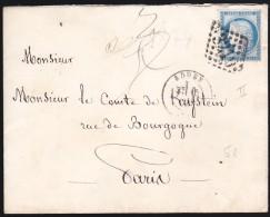 France - Lettre N° 60 Obl. - 1874 - G.C. 3210 / Rouen / Paris Rue De Bourgogne / 9.8. - 1849-1876: Klassik