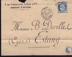 France - Lettre N° 60 Obl. - 1875 - Losange 6307 / Bordeaux à Irun ? A / Estang - 1849-1876: Klassik