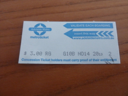 "Ticket De Métro, Bus, Tramway ""Adelaide Metro - Metroticket"" AUSTRALIE - Subway"