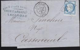 France - Lettre N° 60 Obl. - 1875 - Losange 1988 / Lavardac / Agen / Casseneuil - 1849-1876: Klassik