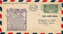1940 FAM 19 First Flight  Honolulu To New Caledonia Sc C21  Noumea New Caledonia Backstamps - Air Mail