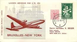 1958  Premier Vol Bruxelles - New York Par Lufthansa - Luftpost