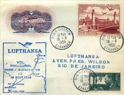 1956  Premier Vol Lufthansa Paris - Rio De Janeiro   PA 28 Pont Alexandre III,  Sur Enveloppe Ed Berck - Poste Aérienne