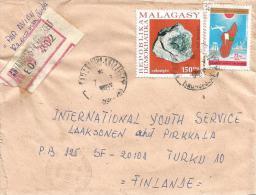Madagascar 1980 Antanarivo Cetestyte Minerals Registered Cover - Mineralen
