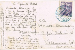 6550. Postal POBLA De LILLET (Barcelona) 1944. Fechador Azul - 1931-Today: 2nd Rep - ... Juan Carlos I