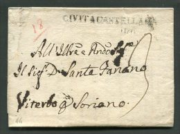 1827  RARA PREFILATELICA DA CIVITA CASTELLANA  X SORIANO  VITERBO  INTERESSANTE TESTO STORICO - Italia