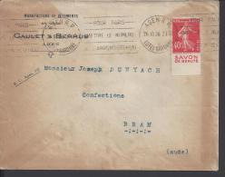 FR - 1926 -  LOT & GARONNE - SEMEUSE AVEC PUBLICITE SUR LETTRE DE AGEN POUR BRAM - - Poststempel (Briefe)