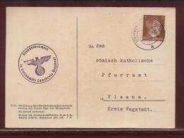 GERMANY THIRD REICH CZECHOSLOVAKIA SUDETENLAND MARRIAGE REGISTRY NOTIFICATION POSTCARD STRZEBOWITZ TO PLESNA - Covers & Documents