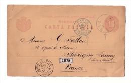 Entier Postal Carte Postale Sinaia Roumanie Thorigny Sur Lagny 1887 - Roumanie