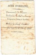 - SUISSE - Canton De NEUFCHATEL - ACTE D'ORIGINE - 1825 - VOIR - Non Classés